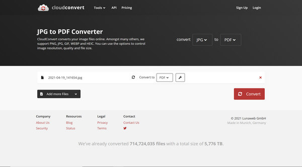 CloudconvertでJPEGをPDFに変換する