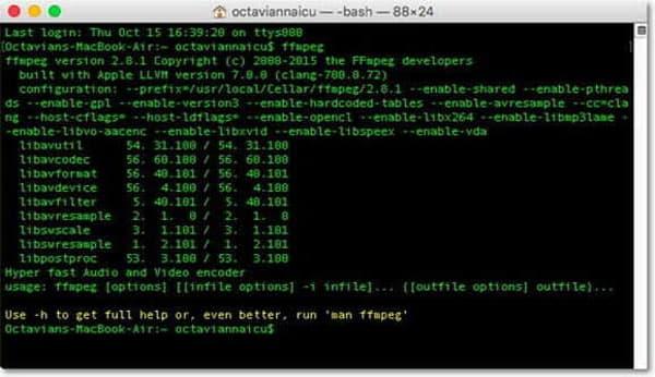 Konvertieren Sie MP3 von ffmpeg für Mac