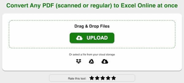 PDFをExcelオンラインに変換する