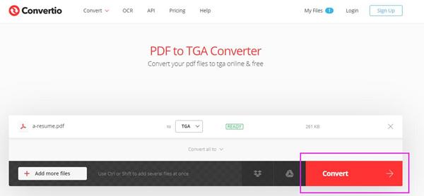 Bouton de conversion Convertio PDF en TGA