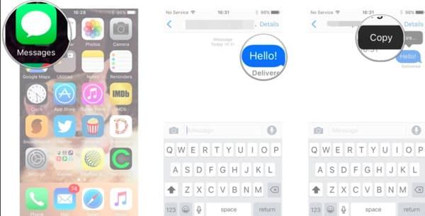 Copier les messages texte sur iPhone