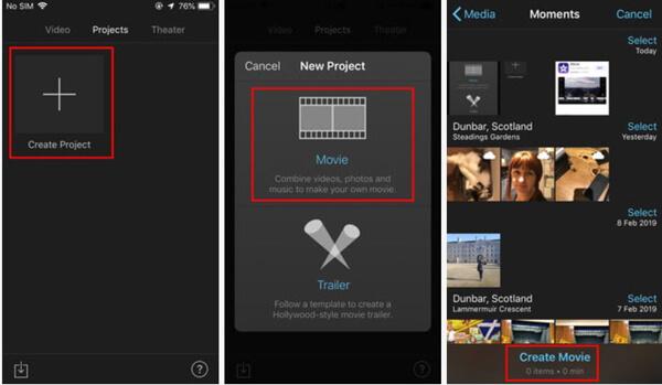 Créer un projet iMovie