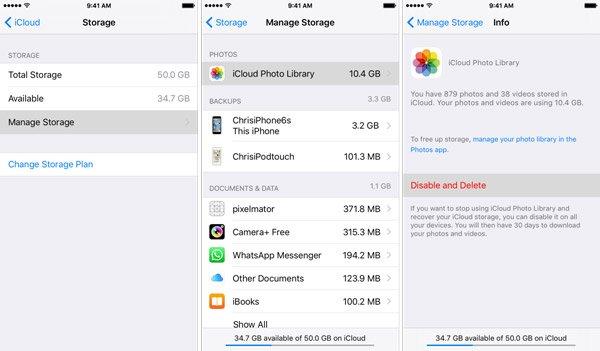 Löschen Sie iCloud Storage