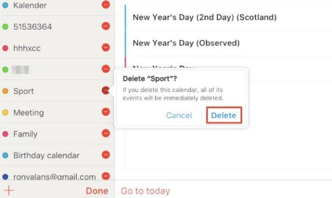 Удалить календарь из iCloud