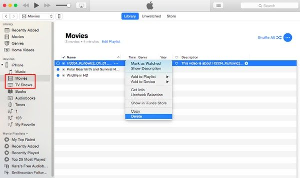 Supprimer un film ou une émission télévisée d'iTunes