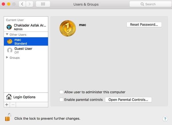 Macで標準ユーザーを削除する