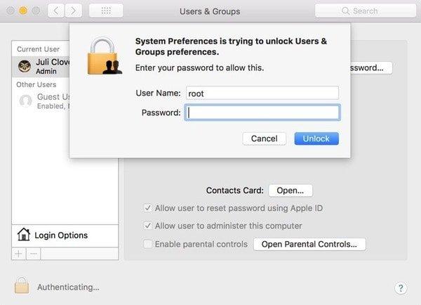 Macで管理者ユーザーを削除する