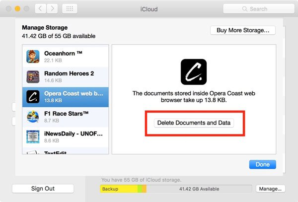 Delete apps from iCloud (Mac)