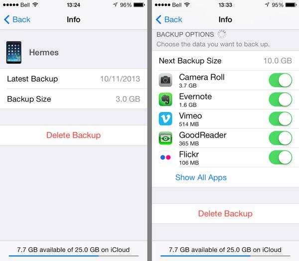 Backups aus iCloud löschen