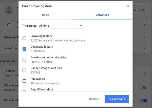 Löschen Sie den Download-Verlauf in Chrome