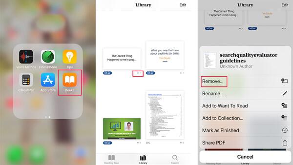 PDF auf iPad / iPhone löschen