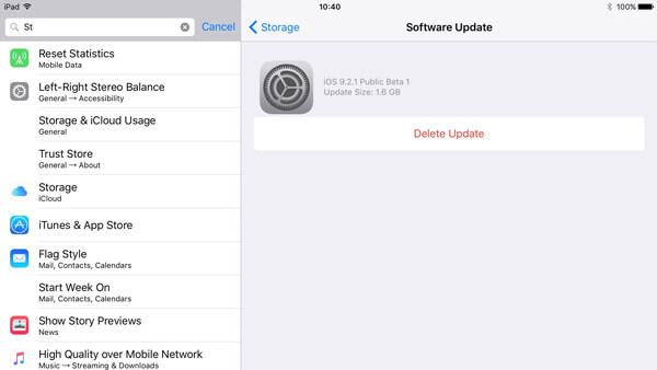 Update auf iPad / iPhone löschen