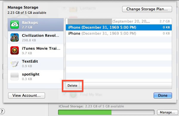 Delete iPhone backups from iCloud on Computer