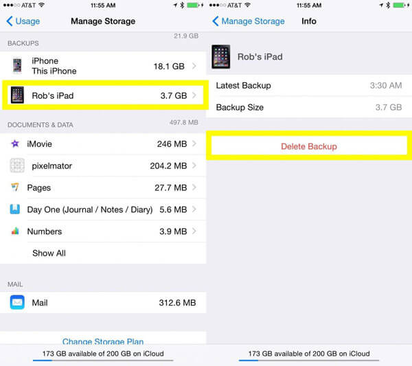Delete iPhone backups from iCloud on iPhone