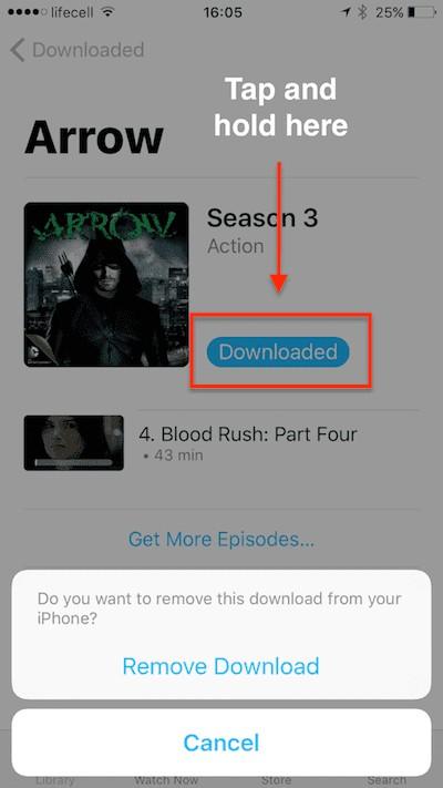 Film aus der TV-App löschen