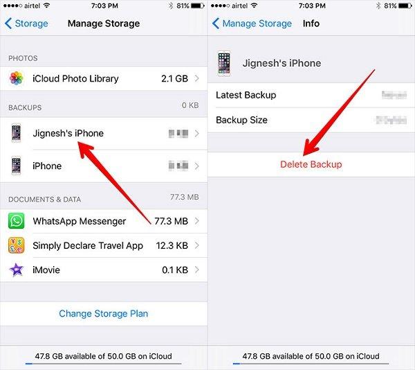 supprimer les anciennes sauvegardes icloud de l'iphone