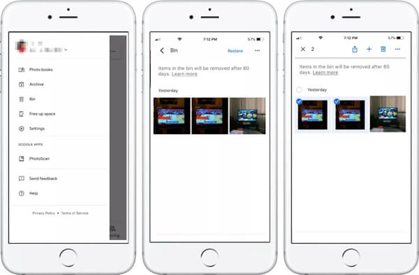 Delete photos from google photos iPhone