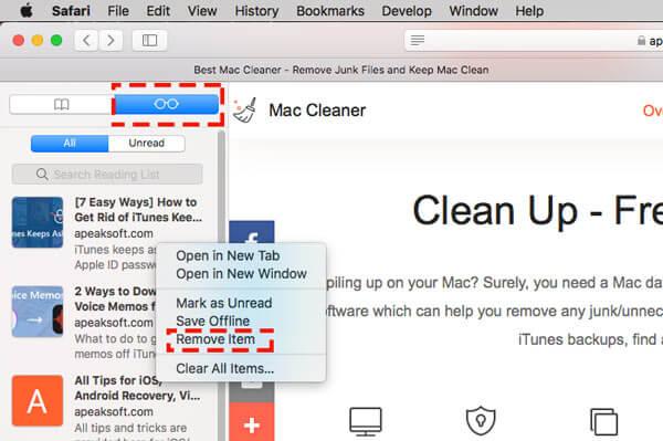 Supprimer la liste de lecture sidebar safari sur mac