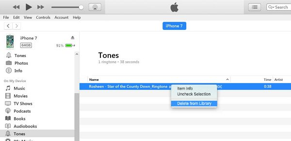 Supprimer les sonneries iPhone via iTunes