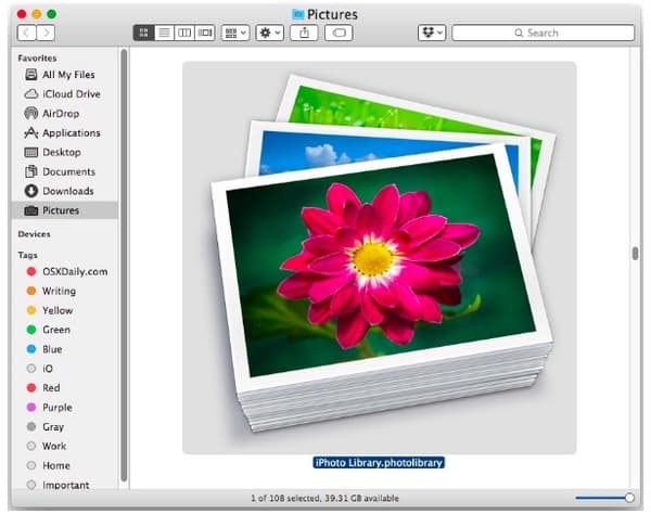 How do i delete iphoto library from my mac