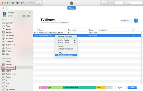 Supprimer les émissions de télévision d'iCloud via iTunes