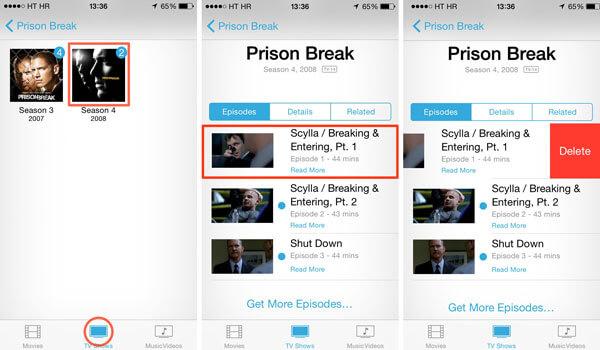 Supprimer les émissions de télévision d'iCloud via l'application Vidéos