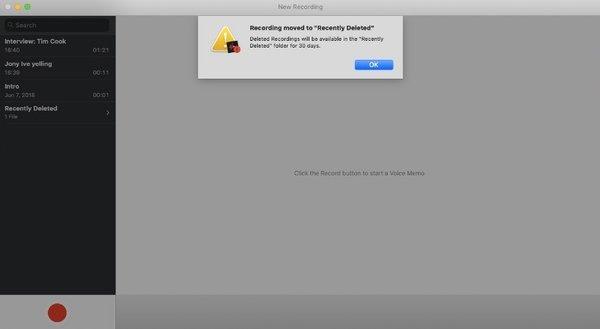 Supprimer le mémo vocal sur Mac
