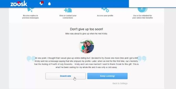 How to delete zoosk account on mobile website