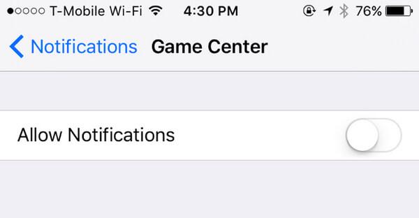 Deaktivieren Sie Game Center-Benachrichtigungen