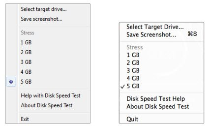 Disk speed test settings