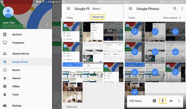 Googleフォトからデバイスにすべての写真をダウンロードする