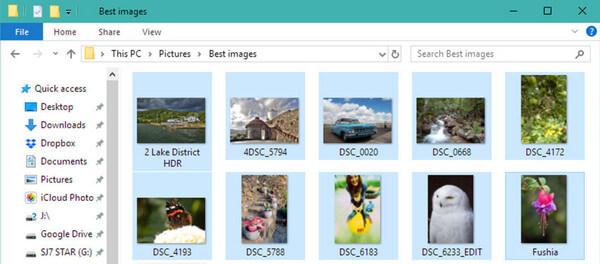JPEGファイルをドラッグして選択します