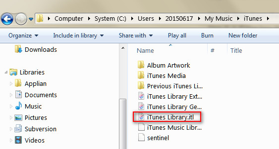 Drag current iTunes Library file to another place