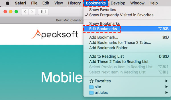Édition de bookmark safari sur mac