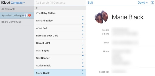 Edit Contacts group