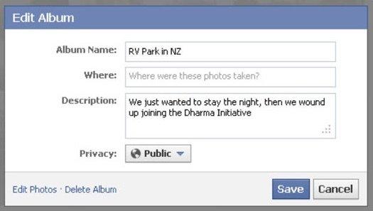 Bearbeiten Sie das Facebook-Album