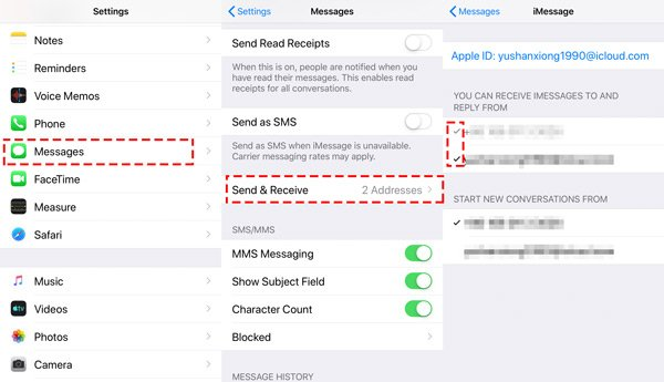 Activer Apple ID recevoir envoyer des iMessages