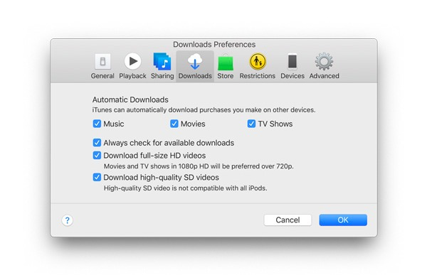 Enable automatic downloads on Mac