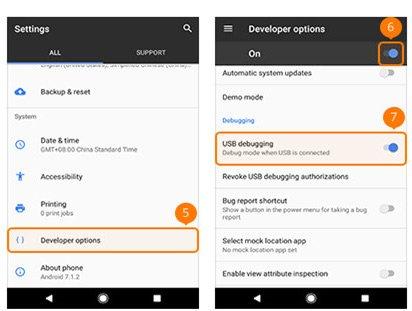 USBデバッグを有効にするGoogle Windows Phone