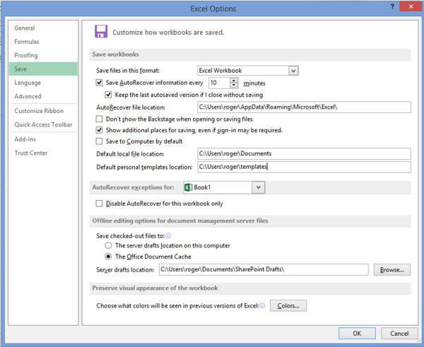 Set Excel Auto Save & Auto Recover