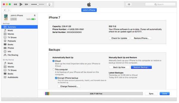 Restaurer l'iPhone à partir d'iTunes pour quitter le mode DFU