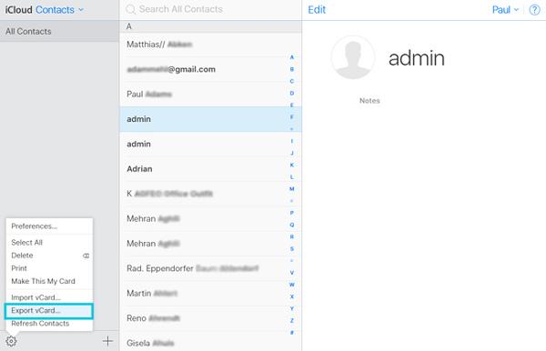 Exporter les contacts iCloud