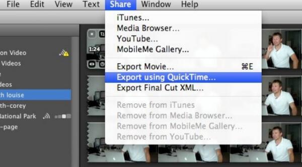 MOVファイルのエクスポート