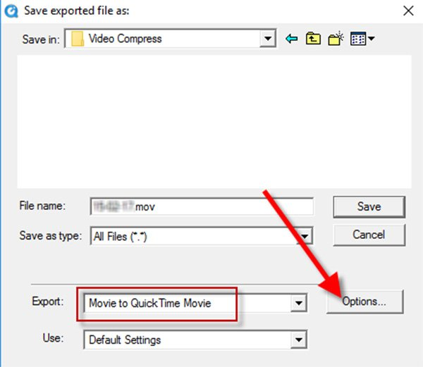 Export MOV Quicktime