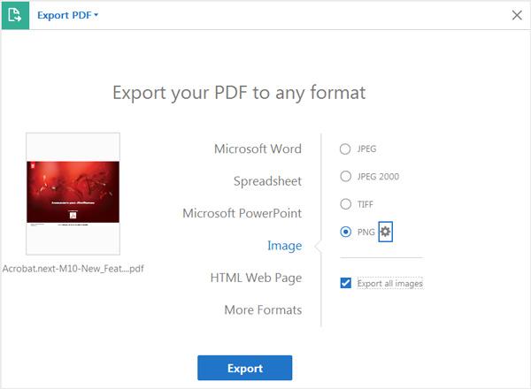 Exporter PDf au format PNG Adobe Acrobat