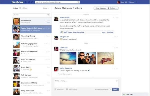 Ouvrez les messages Facebook