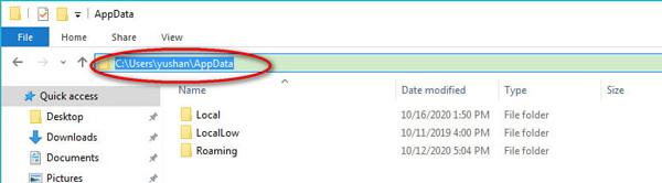 Rechercher des données d'application sur Windows