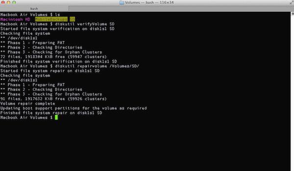 Réparer la carte SD endommagée sur Mac