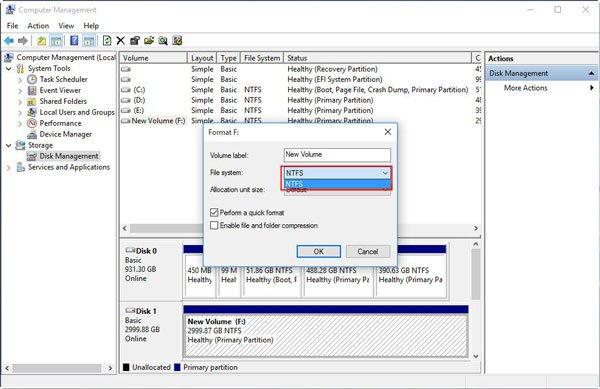 Formatage du disque dur