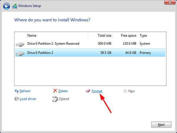 Formatieren Sie die SSD neu